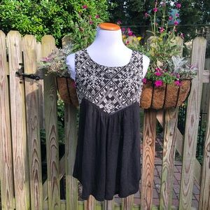 Lucky Brand Flowy Embroidered Key Hole Back Top
